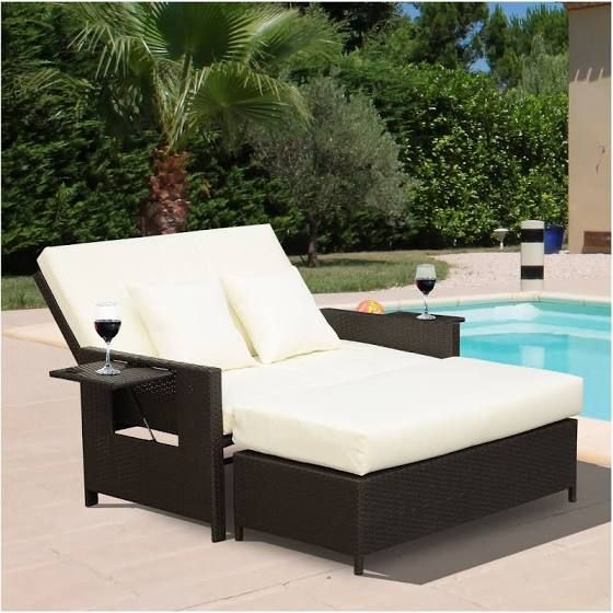 Convertible Outdoor Sectional Sofa Reclines Lounge Chair Outdoor Outdoor Pool Furniture Double Chaise Lounge