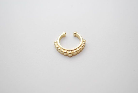 gold septum dot faux nose ring fake piercing indian by cclstore