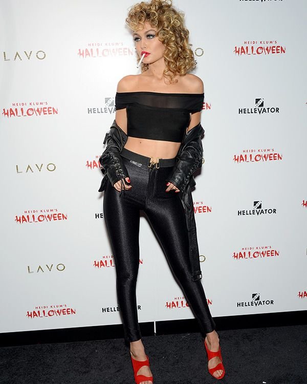 Gigi Hadid dressed as a super-sexy Sandy from Grease -- post-Pink Ladies' makeover -- for Heidi Klum's Halloween bash!