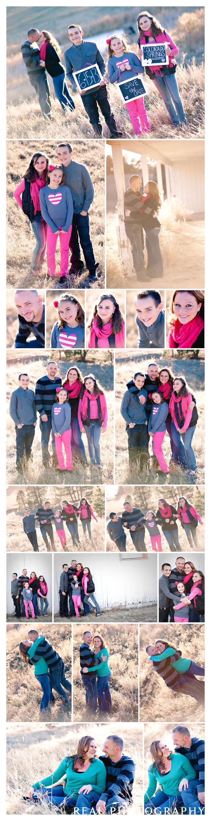 save the date ideas engagement portrait session with kids what to wear for family photos