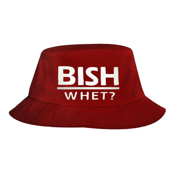 Bish Whet Bucket Hat (Red) (505 THB) ❤ liked on Polyvore featuring accessories, hats, red bucket hat, fishing hats, fisherman hat, bucket hats and red hat