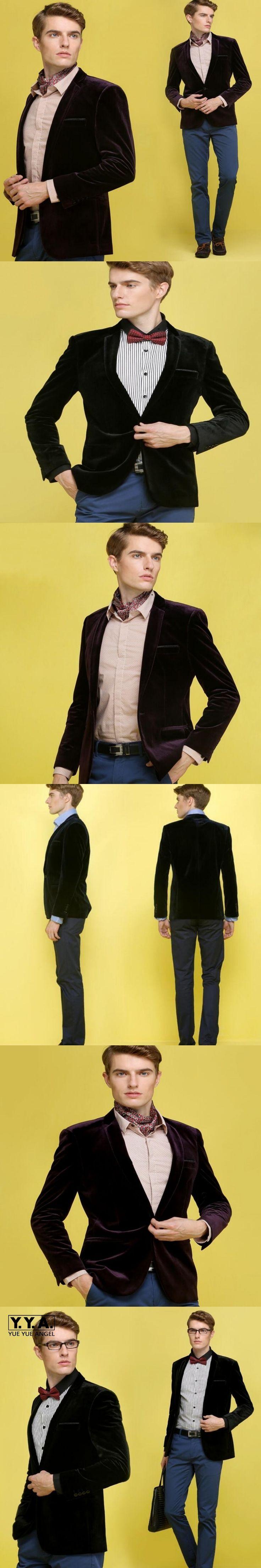 Mens Wine Red Velvet Blazer Male Slim Fit Fashion Casual Jackets New Brand Casual Velvet Suit Fashion Pieces Design Blazer 3XL