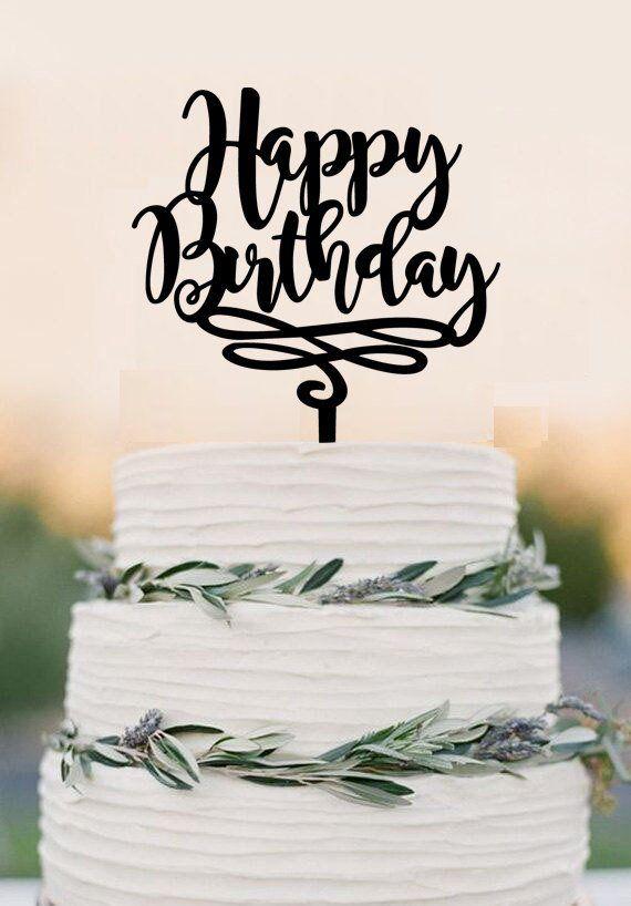60th Wedding Anniversary Ideas >> Happy Birthday Cake Topper, Birthday Cake Topper, Personalized Custom – DokkiDesign | Wedding ...