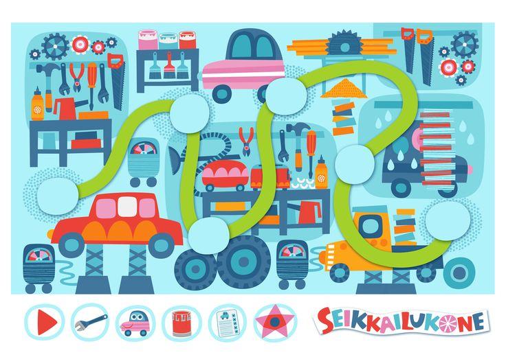 Seikkailukone | tulostettava | paperi | kartta | peli | tehtävä |  korjaamo | lapset | game | map | children | kids | free printable | Pikku Kakkonen