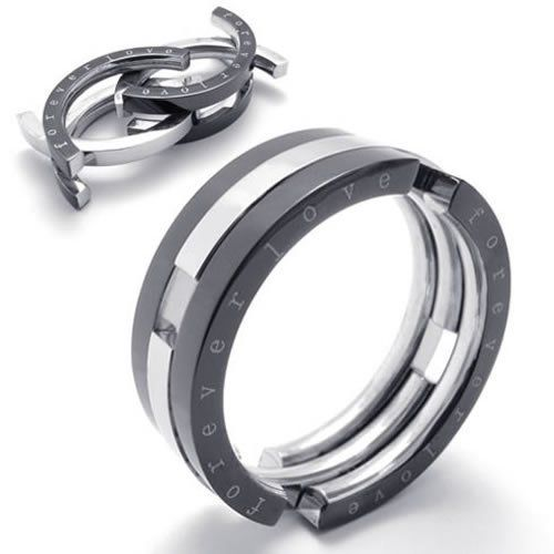"KONOV Jewelry Transformable Unisex Stainless Steel Band Ring ""forever love"" - Silver Black (Available in Size 8, 9, 10, 11, 12, 13) KONOV Jewelry. $9.99. Brand: KONOV Jewelry Color: Black & Silver. Available sizes: 8, 9, 10, 11, 12, 13. Width: 8mm (0.31 inches). Material: Stainless Steel"