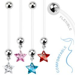 Star Gem Dangle Bio Flex Pregnancy Navel Ring