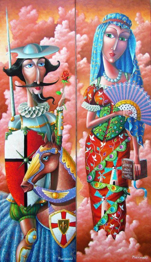 Zurab Martiashvili ~ Don Quixote and Dulcinea del Toboso, the diptych, 2012