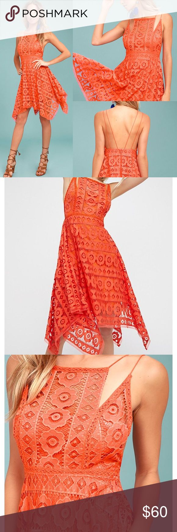 NWT Free People Just Like Honey Lace Salmon Dress Brand new with the tags perfect condition adorable on hugs in all the right places, orange salmon color, purchased at anthropology Free People Dresses