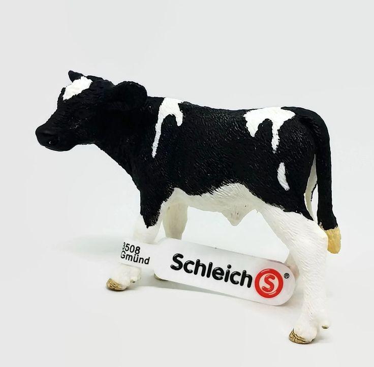 Schleich Holstein Cow Bull Calf Figure Toy w/ Tag Black White Farm Animal Toy #Schleich