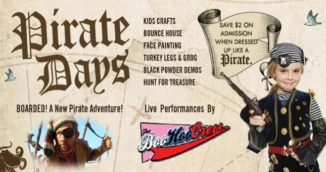 A two day celebration for kids of all ages, will include kids costume contests, carnival games, cannon firings, weapon demonstrations, sword fights, scary stories, and scavenger hunt for the pirate...