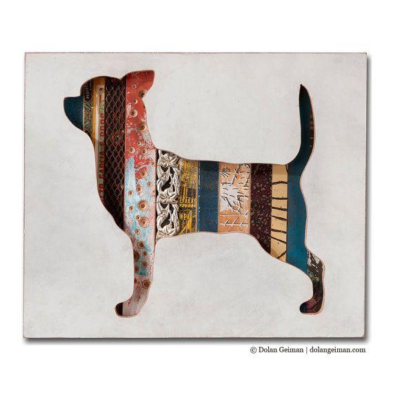 Chihuahua Dog Art, Pet Portrait Assemblage, Dog Walk Mini, Recylced Wood, Antique Object Collage