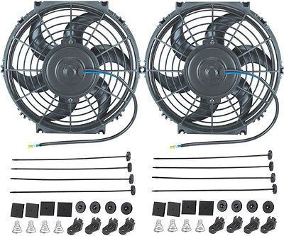 "Dual 10"" Inch Electric Fans 12 Volt Auto Radiator Cooling Fan 80W Motor 900 Cfm"