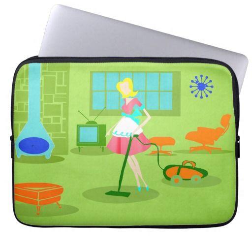 Mid Century Modern Retro Housewife Laptop Sleeve--#laptop #sleeves #electronics #Zazzle #retro #MidCentury