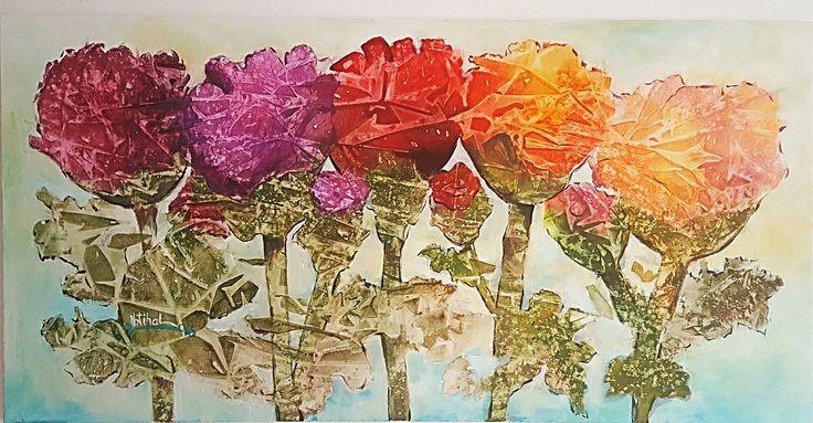 By Ibtihal Alkhalidi Acryl auf Leinwand 50×90 من اعمالي ابتهال الخالدي (ربيع)