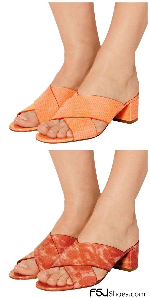 c9f5fad639b Women s Style Sandal Shoes Fall Fashion 2017 Summer Outfits Women Holiday  Treats Idea Women s Orange Python Summer Sandals Open Toe Chunky Heels Mules  ...