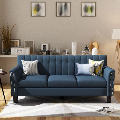 Traditional 3 Seater Navy Blue Fabric Sofa Pier 1 Imports Traditional Sofa Sofa Design Blue Fabric Sofa