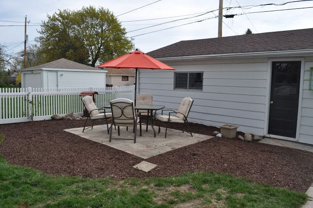 mulch, sod cutter, patio, pavers, DIY, landscaping, reno, pea gravel, dark brown shredded mulch, sand, compactor, DIY PATIO