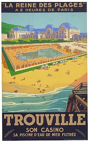 Trouville - La reine des plages à 2 heures de Paris - 1930 - illustration de Pierre Commarmond - France -