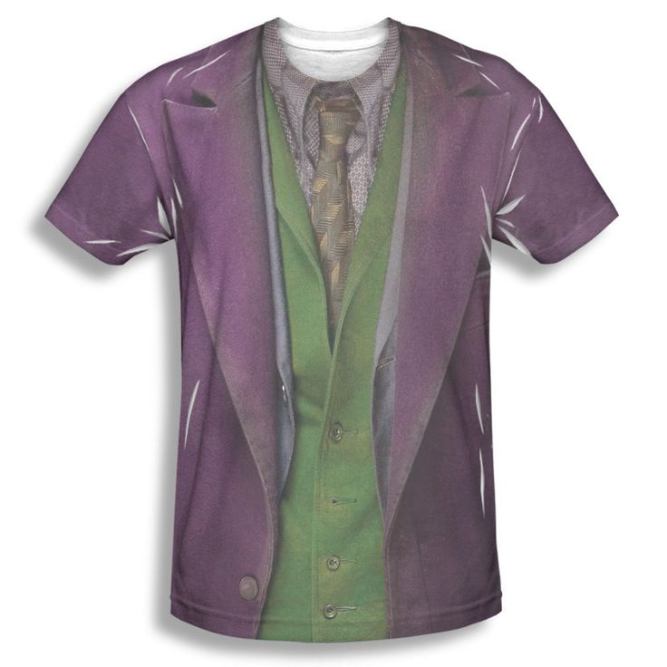 The Dark Knight Joker Costume Ragged Picture Sublimation Front Only T-shirt Top #Trevco #GraphicTee