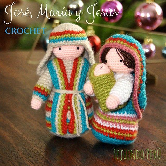 San José tejido a crochet (amigurumi)!  Pueden ver el paso a paso en nuestra web: www.tejiendoperu.com. También encuentran el paso a paso para tejer a María con El Niño Jesús en brazos (que ya teníamos :)