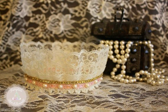Ivory Lace Crown with Gold & Blush Pink by FairytaleLaceSonnets