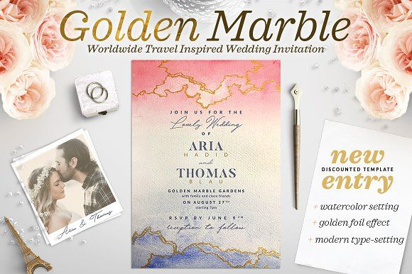 Golden Marble Wedding Invitation I by The Wedding Shop on @creativemarket
