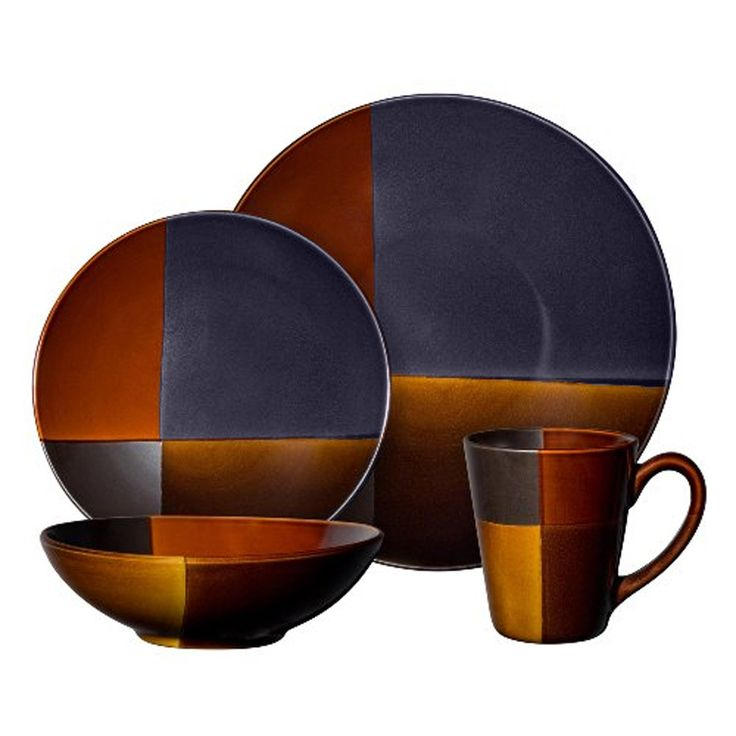 Convergence 16 pc Dinnerware Set. Convergence 16-piece dinnerware set including: 4 dinner plates, 4 dessert plates, 4 soup/salad bowls, 4 mugs with lids, Dark brown and Orange Stoneware Dinner Set Reactive Glazes Dishwasher and Microwave safe Suitable for wide range of any table settings.