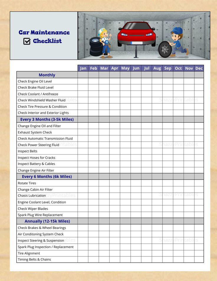 Car Maintenance Checklist Instant Download PDF in 2020