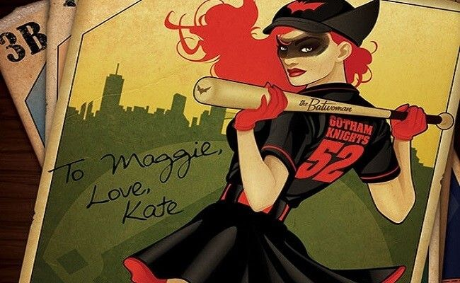 In DC Bombshells, Batwoman (real name Kate Kane) is a vigilante who earned her name by fighting crime with a bat and her baseball uniform. Her costume is inspired by the women's baseball uniforms in the 1940's. For authenticity, use the iron-on patch and numbers to recreate her team logo and number,
