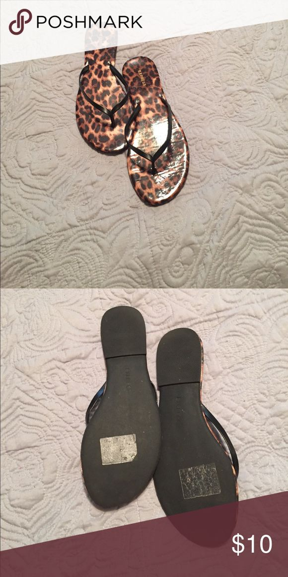 Express Animal Print Flip Flop Sandals Excellent used condition Express flip flop style sandals. Animal print size 9. Express Shoes Sandals