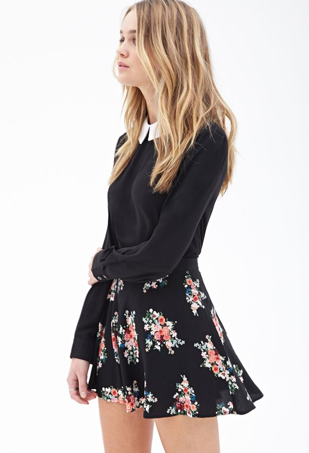$12, Floral Print Skater Skirt by Forever 21. Sold by Forever 21. Click for more info: http://lookastic.com/women/shop_items/152417/redirect