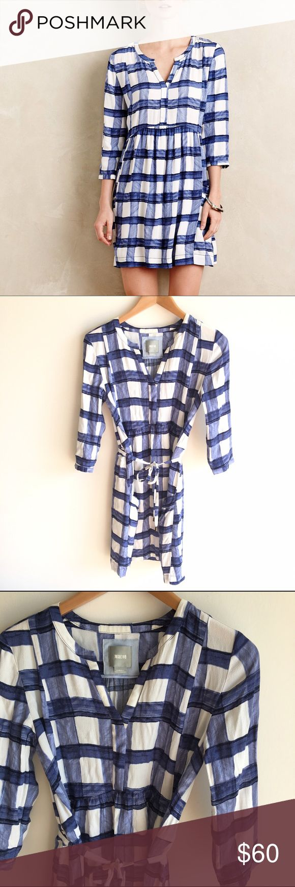 Anthropologie Maeve Devery Blue Plaid Dress Blue and white plaid, tie waist 3/4 length sleeve dress with pockets. EUC! Anthropologie Dresses Long Sleeve