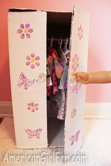 Closet For Your Doll Clothes Made Out Of Old Cardboard Box