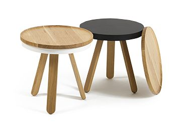 Oak-White and Oak-Black Batea side table with wooden tray