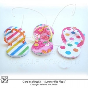 Printable Flip Flop - Beach Sandals, Thongs - Cards to print - Cards that look like Flip Flops -  Three digital downloadable Flip Flop Card Patterns. Do it yourself - DIY Flop Flop Cards. Super Cute for Birthdays, Girls beach theme or pool party themes. Gina Jane Designs - DAISIE Company