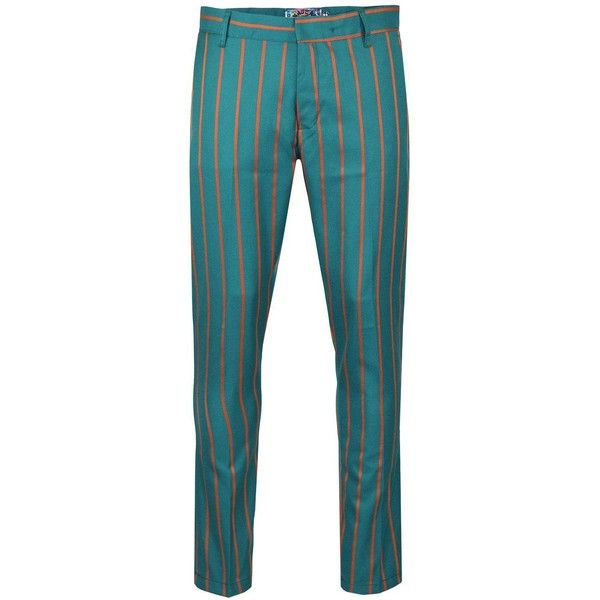 MADCAP ENGLAND Offbeat Retro 60s Mod Boating Stripe Trousers Teal ($71) ❤ liked on Polyvore featuring pants, blue pants, mod pants, blue striped pants, retro pants and stripe pants
