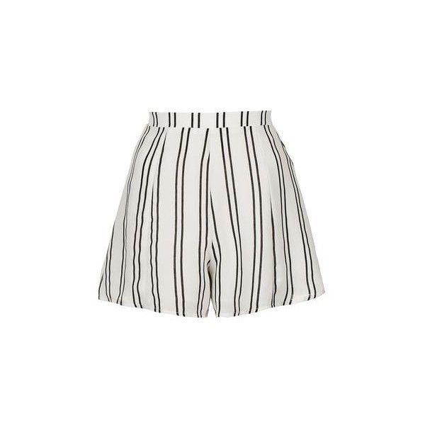 Striped Pleated Shorts by Glamorous Petites ($26) ❤ liked on Polyvore featuring shorts, white, striped shorts, striped high waisted shorts, topshop, high-waisted shorts and topshop shorts