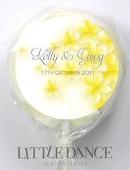 Frangipani Wedding Personalised Lollipops