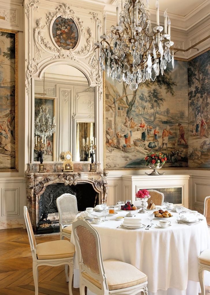Home Design And Decor French Interior Ideas For The Homes In Dining Room With Chandelier Wallpaper Wainscoting