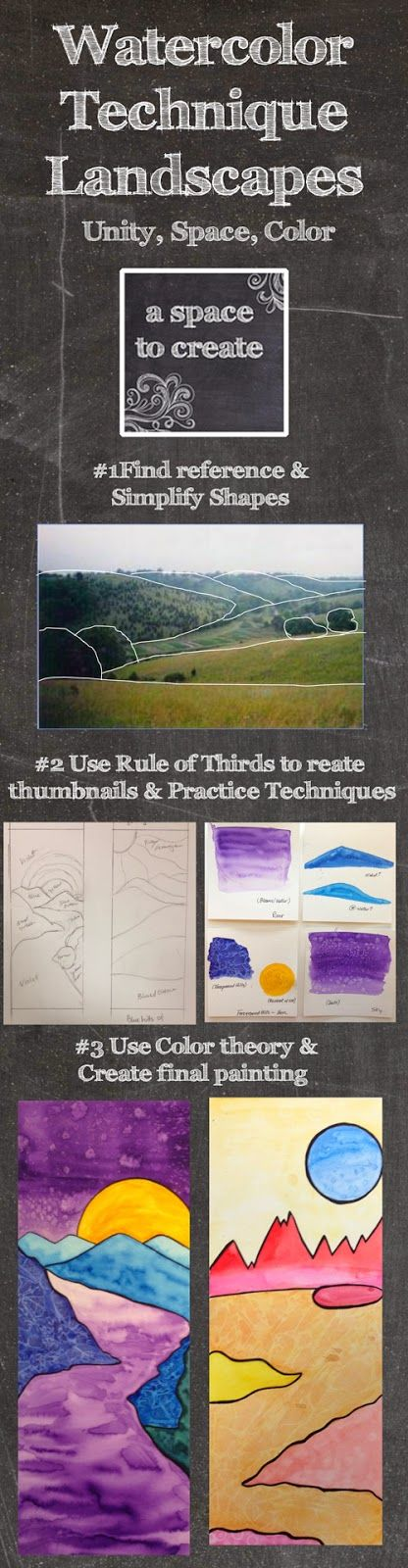Watercolor Technique Landscapes - A Space to Create blog post