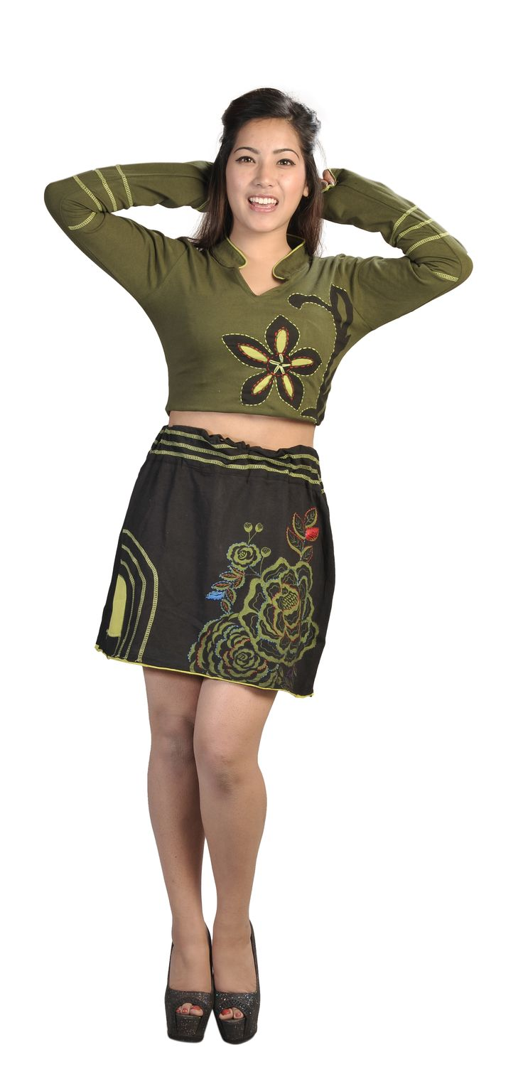 Cotton Knee-length skirt with an elasticated waist and featuring Embroidery Colorful Flower!!!