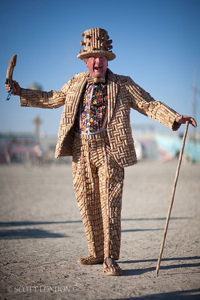 Man wearing a suit made of wine corksat the Burning Man Festival