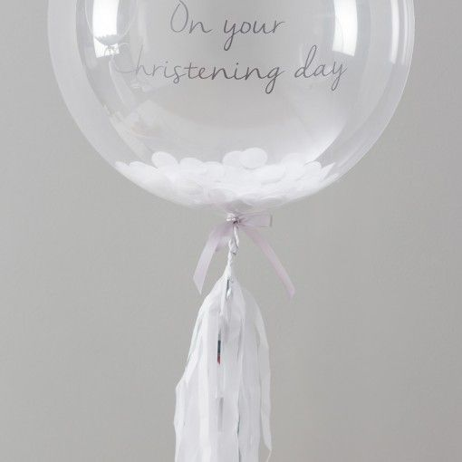 Christening confetti balloons by Bubblegum.