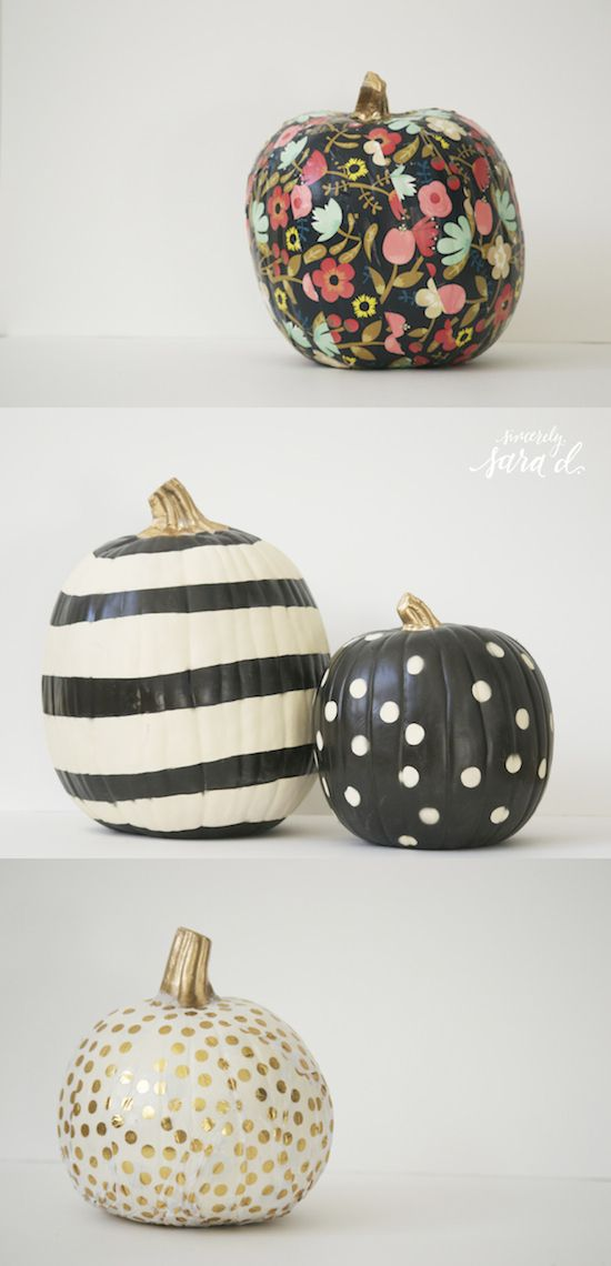 Unique pumpkin decor tutorials using paint & mod podge.  Use fake pumpkins, and these can be used year after year!