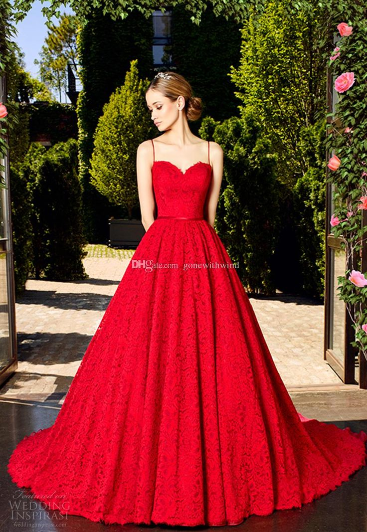 Princess Wedding Dresses 2017 Spagetti Strap Sweetheart Neckline Full Embellishment Romantic Red Color A Line Bridal Gowns Long Sleeve Wedding Dresses Preowned Wedding Dresses From Gonewithwind, $201.01| Dhgate.Com