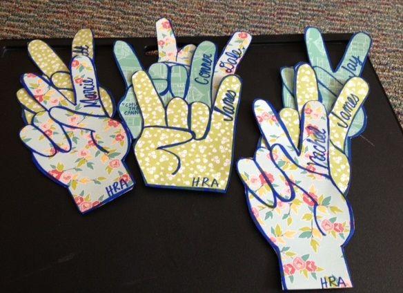 rock on & peace sign door decs