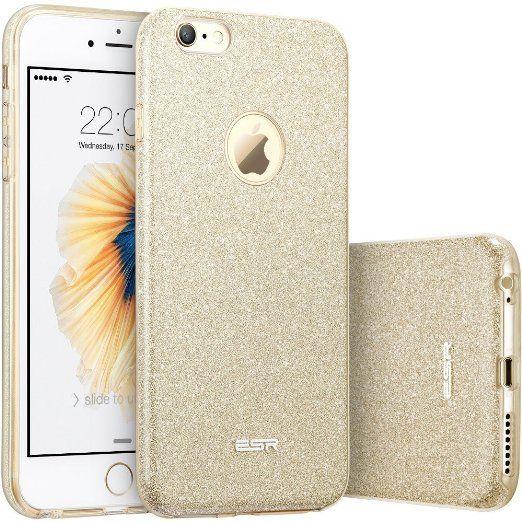 Custodia iPhone 6 Silicone,Case Cover per iPhone 6s in Silicone,ESR iPhone 6 Glitter Bling Case Cover iPhone 6 / 6S 4.7 inch (Champagne Gold)