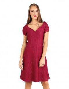 Puff sleeve skater dress - Red