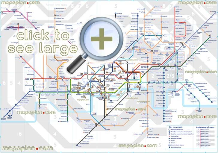 london tube underground stations zones marked public transportation system heathrow airport overground metro routes subway rail lines network diagram railway transit stops commuter dlr light train transports London Top tourist attractions map