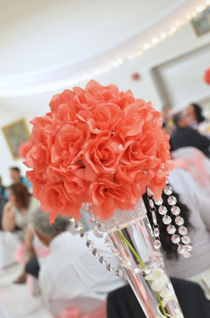 coral wedding, centerpieces, wedding centerpieces